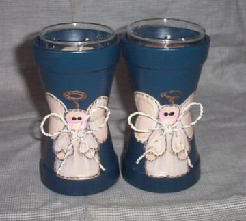 Clay Pot Angel Candle Holders