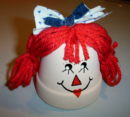 Raggedy Ann Clay Pot