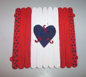 Patriotic American or Canadian Popsicle Stick Coaster